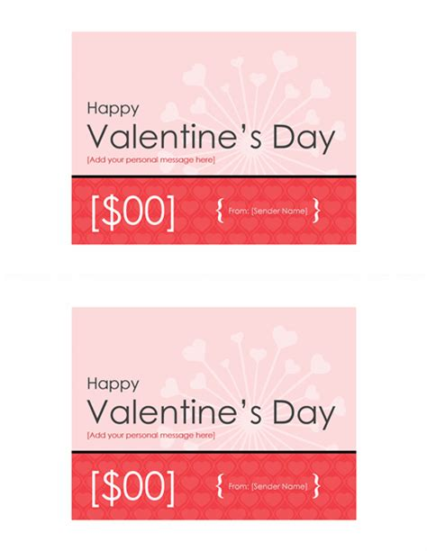 valentine gift certificates 2 per page office templates