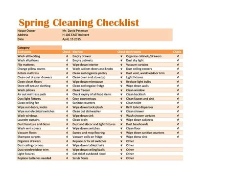 cleaning checklist templates  word excel formats