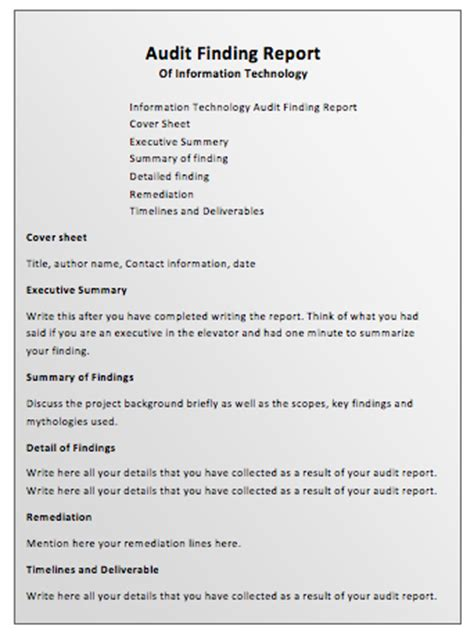 audit report template word audit report template printable templates