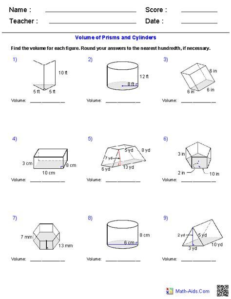 printable math worksheets volume of triangular prism prisms and cylinders volume worksheets math aids com