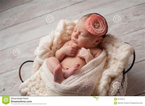 beautiful baby with flower headband stock image image newborn baby wearing a flower headband stock photo
