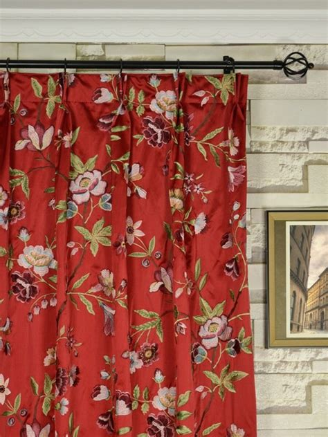 red floral drapes red embroidered cheerful floral double pinch pleat faux