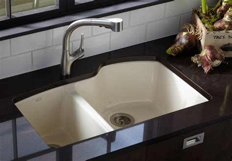 Kitchen Counter With Sink Kohler K 5870 5u 47 Wheatland Undercounter Offset Basin Sink With Five Faucet