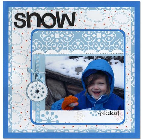 Snow Layout by Snow Scrapbook Scrapbooking Layouts Favorite