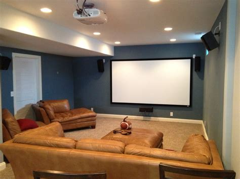 Small Home Theatre In Basement Home Theater On Cin Cir Traditional Basement Omaha
