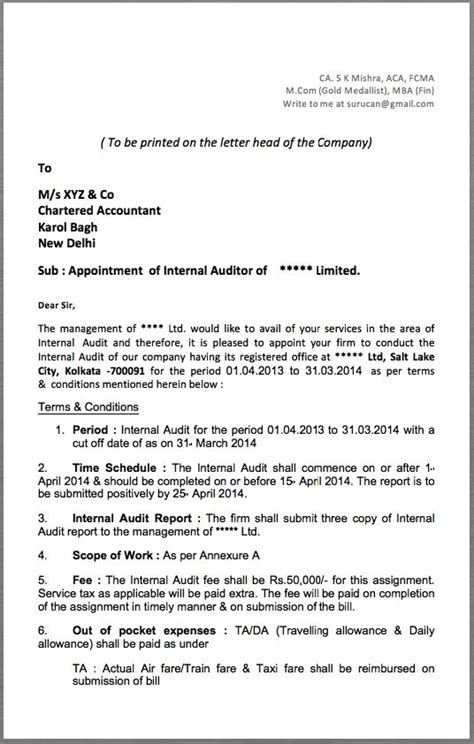 appointment letter format delhi auditor appointment letter to be printed on the