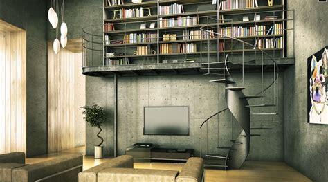 modern home library interior design industrial design for loft style buffalo apartments