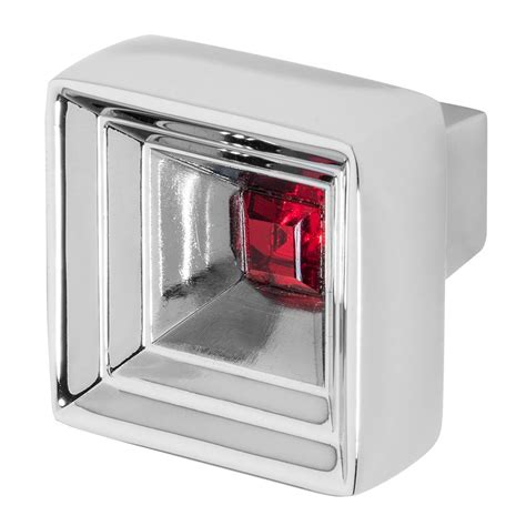 red crystal cabinet knobs wisdom stone hidden treasure 1 1 16 in chrome with red