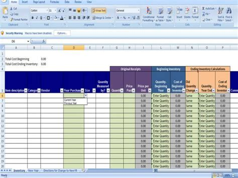 annual inventory template beginning and ending year