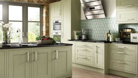 olive green painted kitchen cabinets