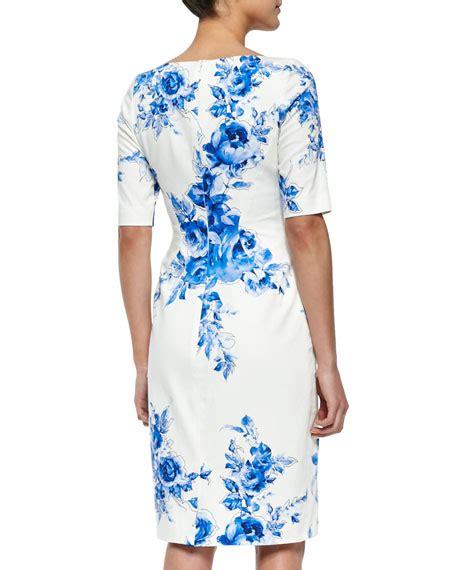 Sleeve Floral Sheath Dress floral print sleeve sheath dress blue