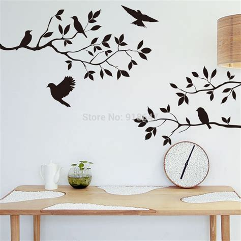 home decor stickers wall sia new wall decal black birds tree large room decor home