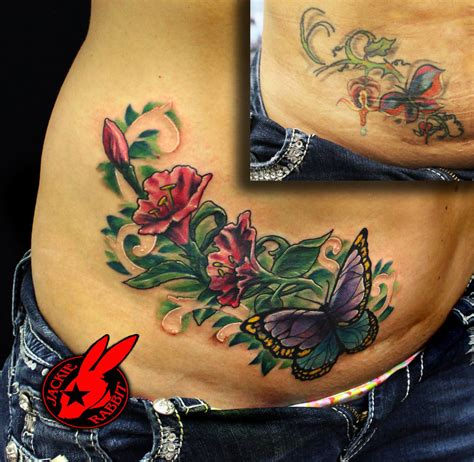 tattoo nightmares flower cover up buterfly flower cover up tattoo by jackie rabbit by