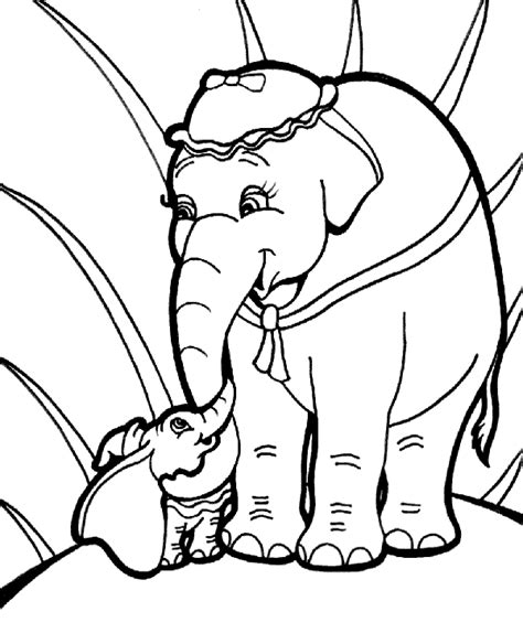 big and small elephant on coloring sheet page to print or