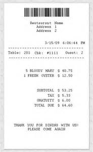 restaurant receipt template free restaurant receipt template