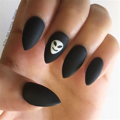 Nail Black matte black stiletto nails nail aliens the o jays and the black