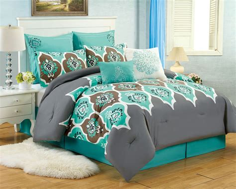 grey and teal bedding sets 8 pc teal grey ogee king comforter set boho gray blue
