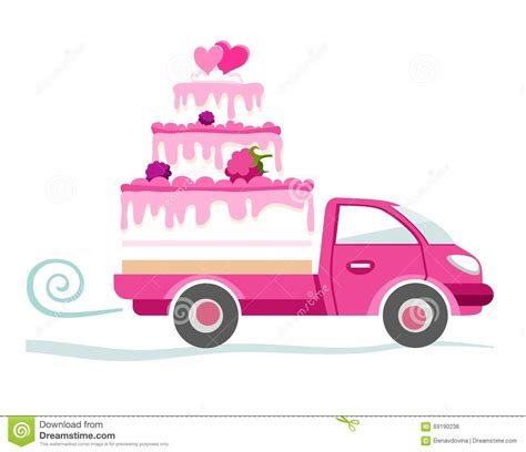 Cake Delivery by Cakes To Order Delivery Coloured Picture Stock Vector