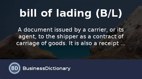 what is a bill of lading b l definition and meaning