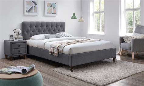 melbourne grey fabric bed frame groupon goods