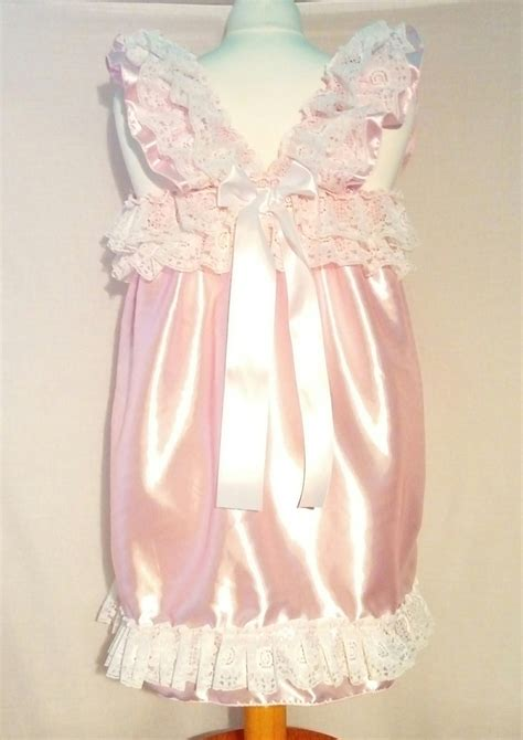 sissies in frilly dresses all sizes 35gbp adult baby satin sissy short dress top