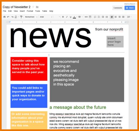 Google Docs Newsletter Template Business Plan Template Newspaper Templates For Docs