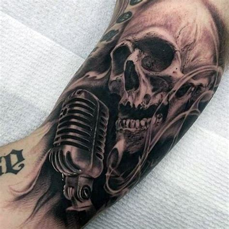 microphone skull tattoo impressive black and white vintage microphone with skull