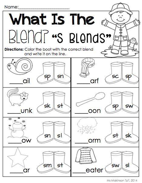 S Blends Worksheet by April Printables Kindergarten Literacy And Math