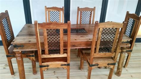 Jali Dining Table And Chairs Indian Jali Sheesham Solid Wood Dining Table And 6 Chairs 163 195 00 Picclick Uk