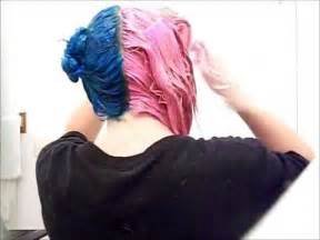 how to dye the top half of your hair how i dyed my hair half blue and half pink youtube