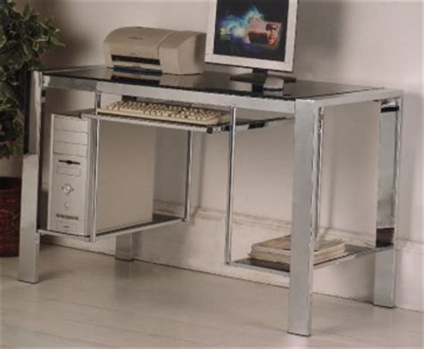 Glass And Chrome Computer Desk Black Glass And Chrome Computer Desk Workstation Ebay