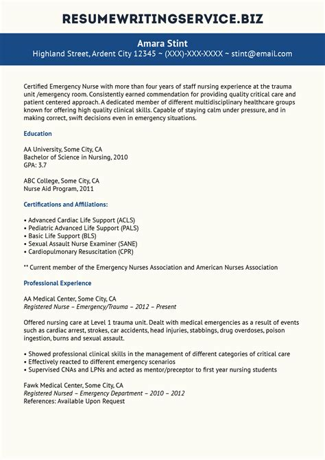 Er Resume by Excellent Staff Resume Sle