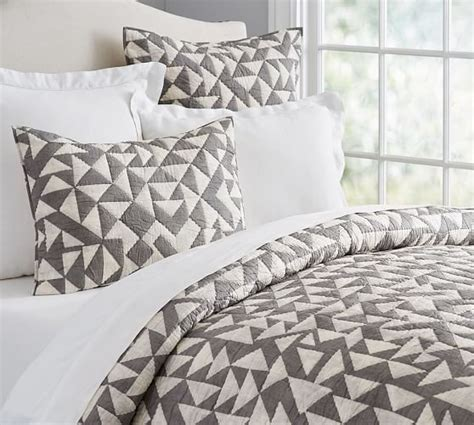 triangle pattern comforter triangle print quilt sham pottery barn
