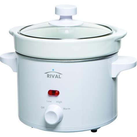 Rival Crock Pot by Rival 2 Qt Cooker White Cooker With Glass Lid