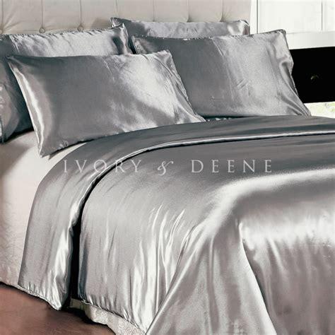 comforter inside duvet cover luxury soft silk feel silver satin king size doona duvet