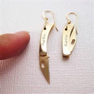 real working sharp tiny folding knife earrings golden