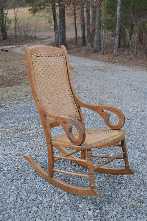 How To Recane A Chair by Oak Rocking Chair Back And Seat Antique By