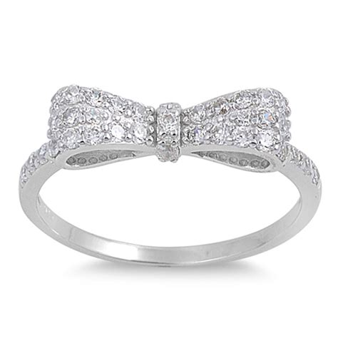 bow tie ribbon ring new 925 sterling silver bowtie band