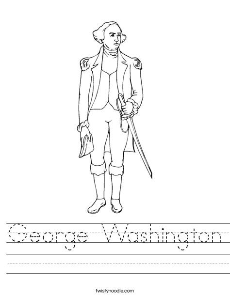 george washington coloring page for kindergarten george washington worksheet twisty noodle