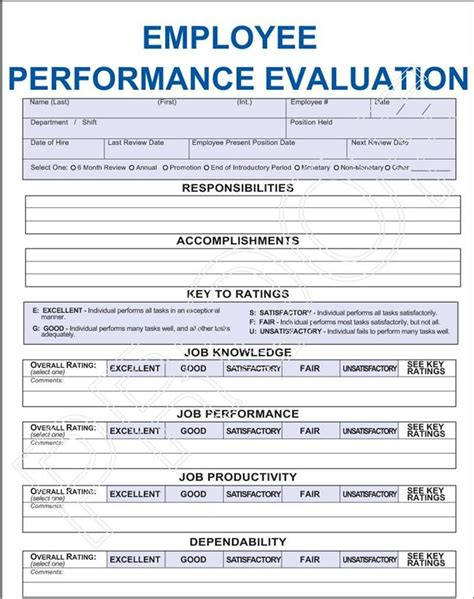 evaluation templates for employees performance evaluation images frompo 1 survey