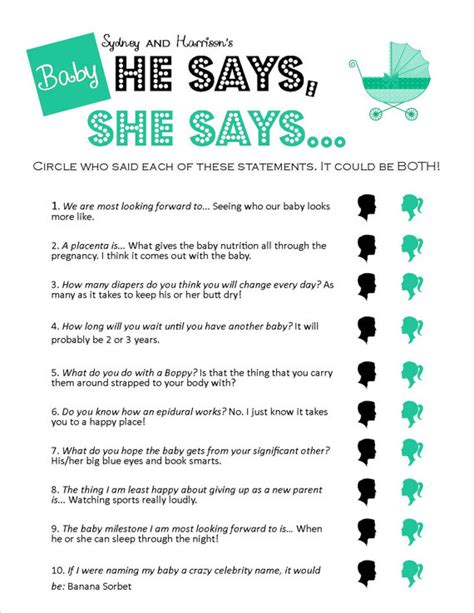 baby shower games ideas templates items similar to he says she says unique printable baby