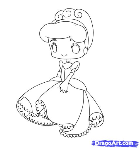 chibi cinderella coloring page how to draw chibi cinderella step by step chibis draw