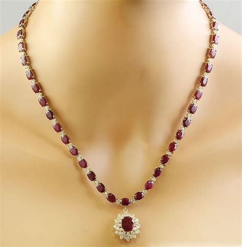 14 40 Carat Ruby 46 40 carat ruby 14k solid yellow gold necklace