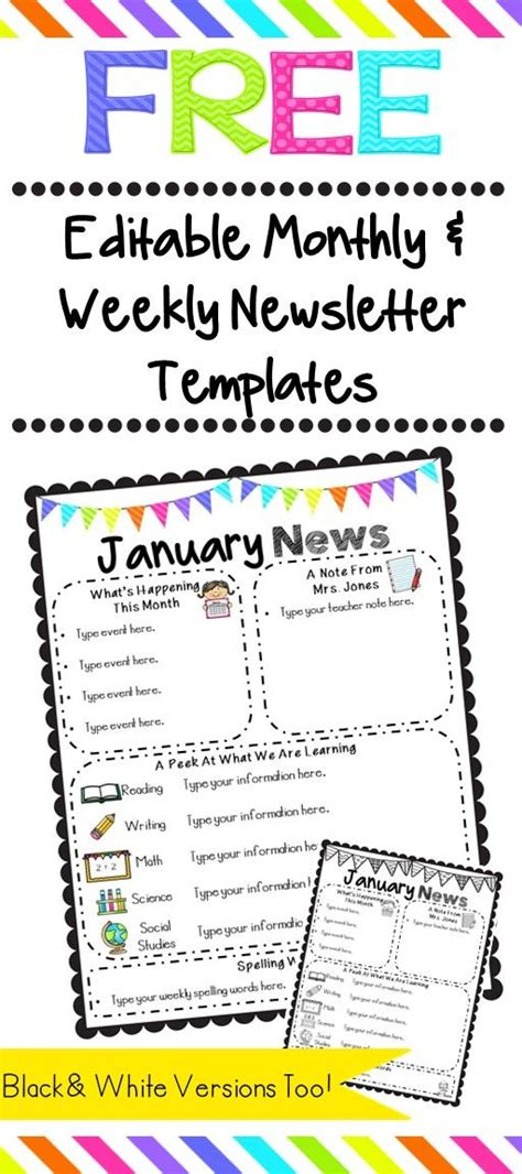 free classroom newsletter templates free editable monthly and weekly newsletter templates