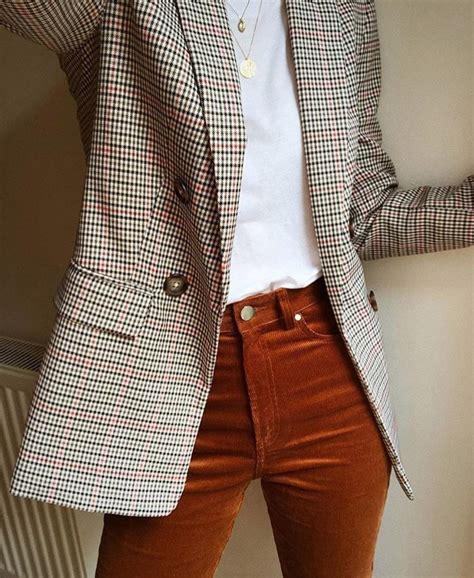 plaid blazers dark orange high rise pants white top