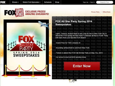 Sweepstakes Fanatics - fox all star party spring 2014 sweepstakes sweepstakes fanatics