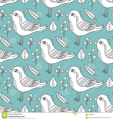 doodle bird free vector seamless pattern with birds and leaves stock vector