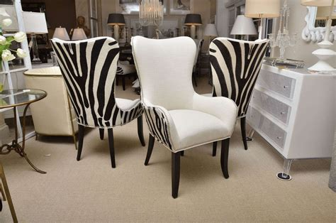 Zebra Dining Room Chairs Set Of Eight Zebra Stenciled Cowhide Dining Chairs At 1stdibs