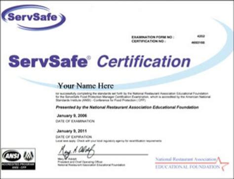 servsafe certificate template servsafe food handler