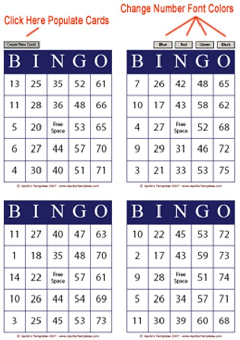 bingo card template types of bingo